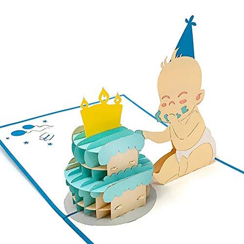3D-pop-up-kaart, baby & taart, geboortekaart blauw, wenskaart voor de geboorte van een jongen - handgemaakte wenskaart, babykaart felicitatie voor de doop, cadeaukaart met envelop voor felicitaties
