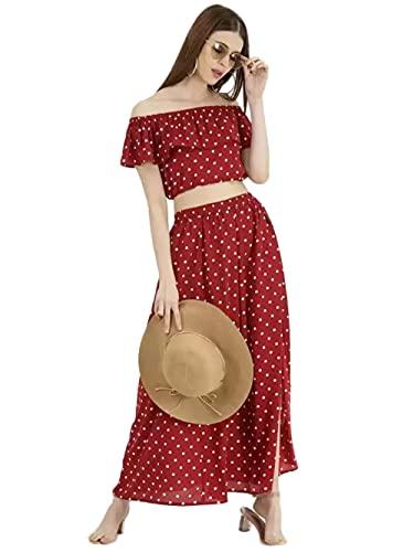 House Of Sensation Women's Summer Chiffon Off-Shoulder Polka Dot Ruffled Pleated Beach Split Suit Set of 1