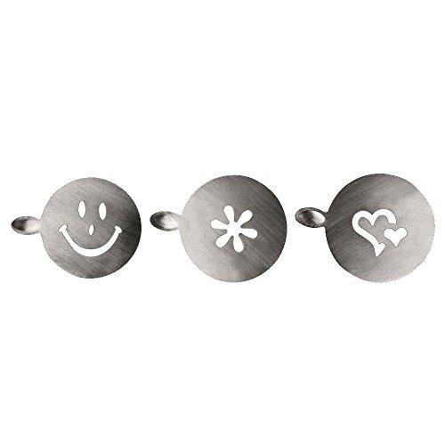 IBILI Milchschaumschablonen-Set 3-teilig aus Edelstahl, Silber, 10 x 10 x 3 cm, 3-Einheiten