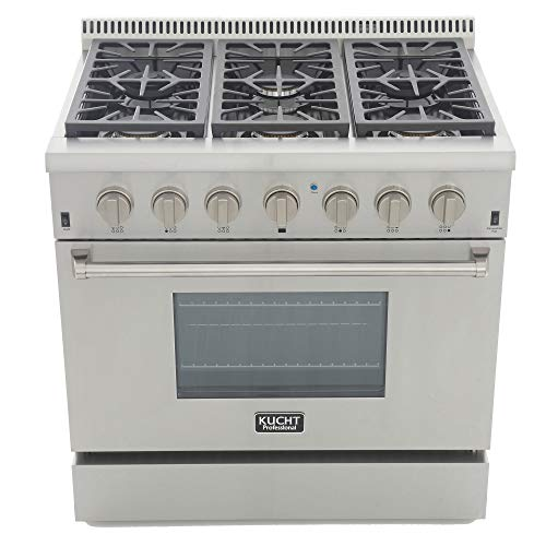 Kucht KRG3618U-S Professional 36' 5.2 cu. ft. Natural Gas Range with Sealed Burners and Convection...