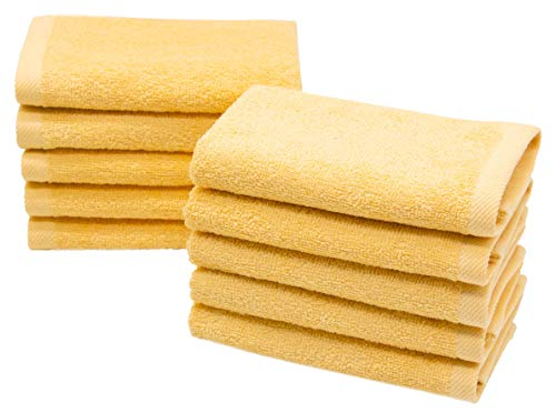 ZOLLNER 10 Toallas para la Cara, 30x30 cm algodón, Amarillo