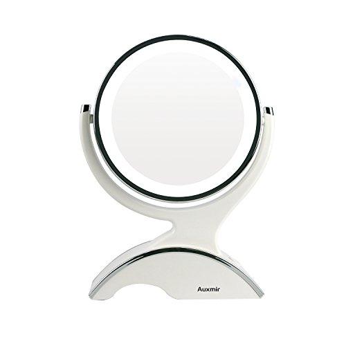 Auxmir Kosmetikspiegel LED Beleuchtet mit 1-/ 10X Vergrößerung, Schminkspiegel Makeup-Spiegel mit Blendfreier Beleuchtung für Schminken, Rasieren und Gesichtspflege
