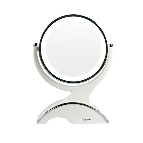 Auxmir Makeup Mirror with Light, 1X / 10X Double-sided Magnifying Mirror, 360° Rotating Rechargeable LED Mirror with 5 Brightness for Makeup, Shaving, Dressing Table, Vanity Desk, White