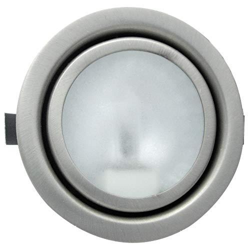 Möbeleinbaustrahler 12Volt inklusive 10W Halogen Leuchtmittel, Kabel und AMP Stecker - Farbe: Edelstahl gebürstet - Dimmbar