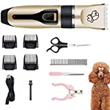 Kartice Dog Clippers, Rechargeable Low Noise Cordless Electric Dog Clippers, Dog Grooming Trimmer Pet Hair Clippers Kit (Gold)