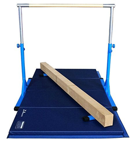 "Z ATHLETIC Expandable Kip Bar for Gymnastics, 4ft x 8ft x 2in Mat, & 7"" Off Ground Balance Beam..."
