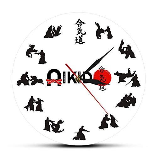 RTYRT Wanduhr mit Acryldruck Die Sieben Tugenden von Bushido Eastern Fight Style Aikido Wanduhr Japanische Kampfkunst Kampfsport Dojo Dekor Stille Uhr 30cm/12