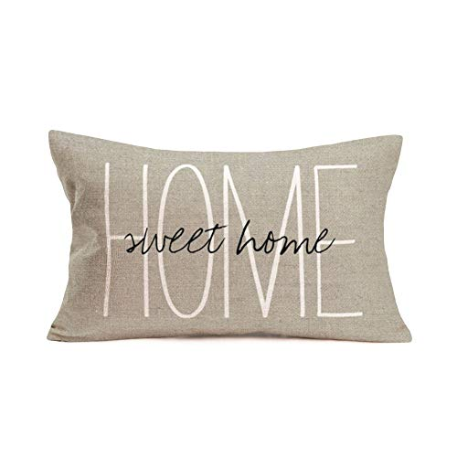 Asamour 12x20 Inches Pillow Covers Rustic Farmhouse Decor Home Sweet Home Quotes Words Pillowcases Cotton Linen Inspirational Letters Saying Throw Pillow Case Cushion Cover for Sofa Couch Bedroom