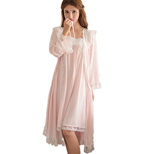 Womens Victorian Nightgown Vintage 2 pcs Sleepwear Nightdress Robes Royal Pajamas Lounge Wear (Pink)