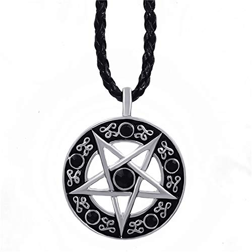 YUNMENG Invertir pentáculo Pentagrama Estrella Colgante de Peltre para Hombre con Gargantilla
