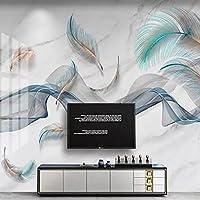 抽象的なモダンな壁画画像フェザースモークライン大理石の寝室の壁紙デザイン柔らかくて耐久性のある防水キャンバス紙3D-150x105cm