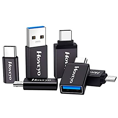 HOVEYO USB Type C Adapter (6-Pack) Aluminum Micro USB to USB C Connector USB-C to USB-A OTG Converter for Samsung Galaxy S9 S8 Note 9 8,MacBook pro, Pixel 3 XL,LG V30 V20 G6 G5,Moto Z3 (Black)