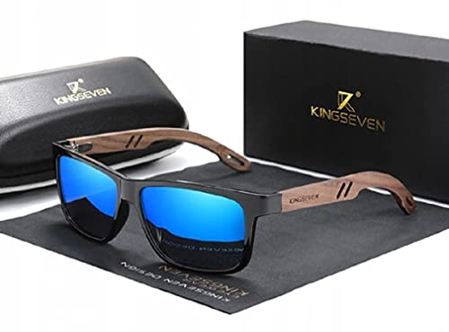 KINGSEVEN Gafas de sol unisex de madera de bambú, protección UV400, color azul