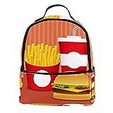 KAMEARI Mochila para la escuela de comida rápida Set Cola Fries Burger Casual Daypack para viajes con bolsillos laterales para botella