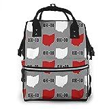 Bolsa de pañales impermeable de gran capacidad de viaje mochila de enfermería bolsas de pañales para mamá, Oh-io State Gray