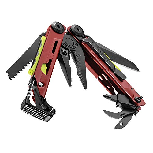 Leatherman Signal - Multiherramienta de supervivencia con 19 herramientas, con bloqueo, varilla de hierro para encender el fuego, martillo y silbato, hecho en EE.UU., en rojo, funda nylon