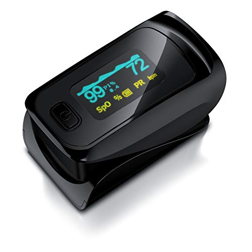 Medicinalis - Pulsoximeter Finger - SpO2 Pulsmesser – Fingerpulsoximeter - Messung von Puls und Sauerstoffsättigung am Finger – OLED Display - Batterieanzeige – Alarm – One Touch Bedienung