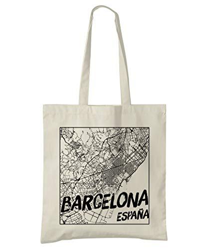 Super Cool Totes Barcelona, Spanien, Stadtplan Einkaufstasche (Design 3)