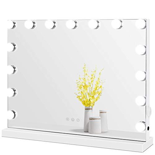 Meidom Hollywood Spiegel mit Beleuchtung, mit USB, für Wandmontage und Desktop, 15 Dimmbare Glühbirnen, 3 Farbtemperatur Licht Schminkspiegel Hollywood-Stil, Weiß 58cm x 46cm