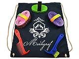 Markgraf Set de limpieza infantil de alta calidad para caballos, cardaturas, Haas + mochila (color multicolor)