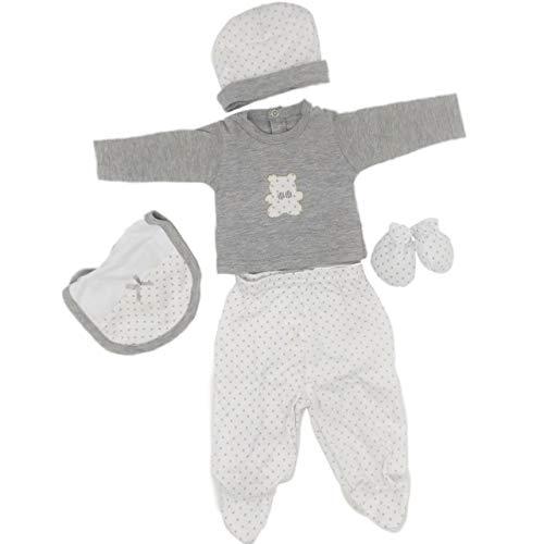 Gamberritos, Set Regalo Recién Nacido/Conjunto bebé Primera Puesta/Body de manga larga, Gorro, Manoplas y Patucos con Caja de Regalo para recién Nacido Talla Unica (Gris y Blanco)