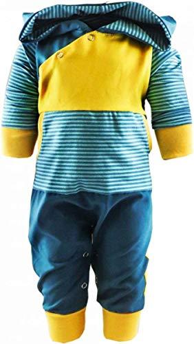 KLEINER FRATZ gestreiftes Baby/Kinder Langarm Kaputzen Overall Kairo mit Bauchtasche (Farbe Petrol-türkis/gelb) (Größe 60/66)
