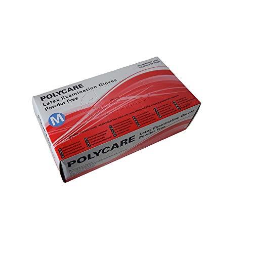 100 Stück Latex Einweghandschuhe in Spenderbox, puderfrei Einmalhandschuhe (M)