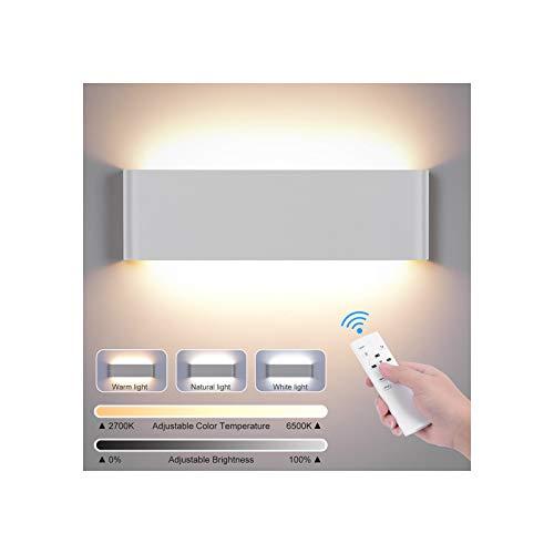 LED Wandlampe 20W, LED Wandleuchte Modern Wandlampen Innen Wandleuchten Dimmbar Wandlampe mit Fernbedienung, Smart Wandleuchte 2700K-6500K 1800LM Lampen für Schlafzimmer Wohnzimmer Bad Flur Treppen