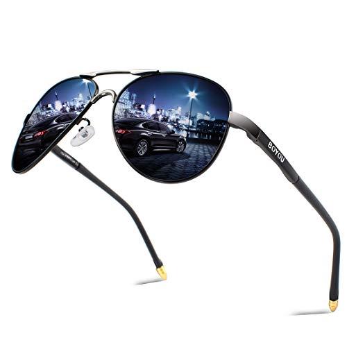 BOYOU Retro Vintage Polarisierte Sonnenbrille Pilotenbrille mit Federscharnier für Herren und Damen UV400 Gläser - Schwarz