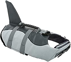 Queenmore Ripstop Large Dog Life Jacket Fish Style Floatation Vest with Adjustable Soft Rubber Handle Grey Shark,L