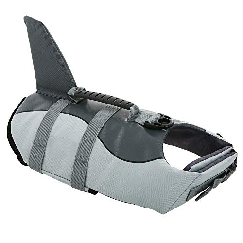 Queenmore Ripstop Medium Dog Life Jacket Fish Style Floatation Vest with Adjustable Soft Rubber Handle Grey Shark,M