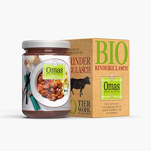 Omas beste Rezepte - 5 Gläser Bio Rindergulasch - Rindsgulasch mit Paprika, Tomaten und Zwiebeln - Ohne Zusatzstoffe - Einfache Zubereitung - 5x 360g