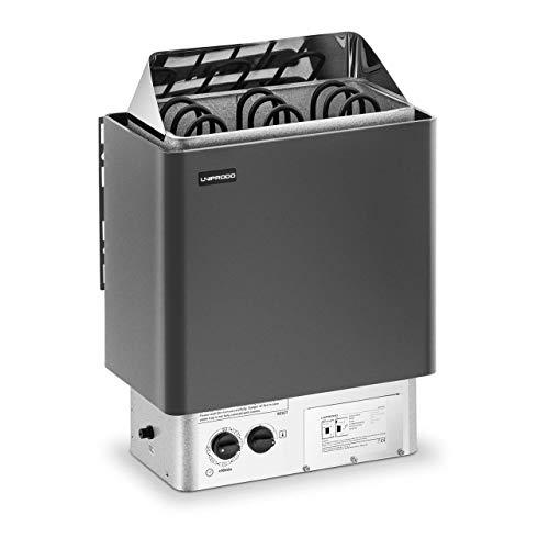 Uniprodo Horno De Sauna Con Panel De Control Calefactor UNI_SAUNA_B4.5KW (Para espacio de 3-6 m³, Rango de temperatura: 30-110 °C, 4,5 kW)
