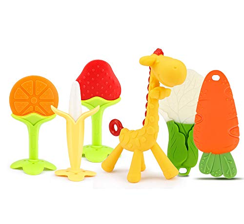 SYCASE 6PCS Juguetes para la dentición del bebé Seguridad alimentaria de silicona Silicona Bebé Animal Mordedores de frutas Juguetes con soporte No tóxico, suave, duradero