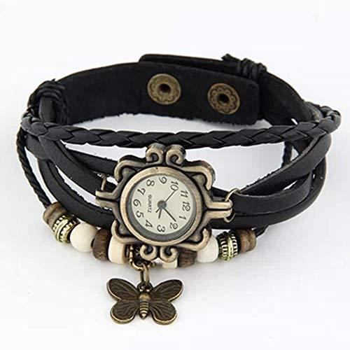 CVBN Fashion Trendy Women Watch Reloj con Colgante de Mariposa con Correa de Cuero multicapas, Negro