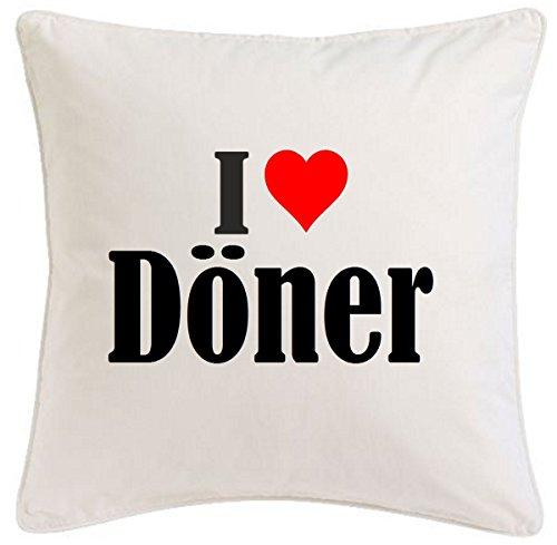 Kissenbezug I Love Döner 40cmx40cm aus Mikrofaser geschmackvolle Dekoration für jedes Wohnzimmer oder Schlafzimmer in Weiß mit Reißverschluss