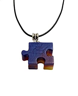AGA Glittery Embossed Puzzle Shape Pendant Necklace for Women - Blue and Purple
