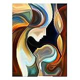 LYDIAMOON Figura Abstracta Moderna Arte de Pared Pintado a Mano Pintura Al Óleo Decoración Contemporánea Obra de Arte de Pared para Sala de Estar,40X80inch