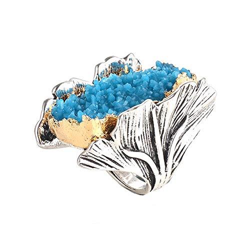 Retro-Cocktail-Statement-Ring, antiker Gold- und Silberton, Kunstharz-Stein, stapelbare Ringe, Cluster-Ringe für Damen und Herren (Blau, 8)