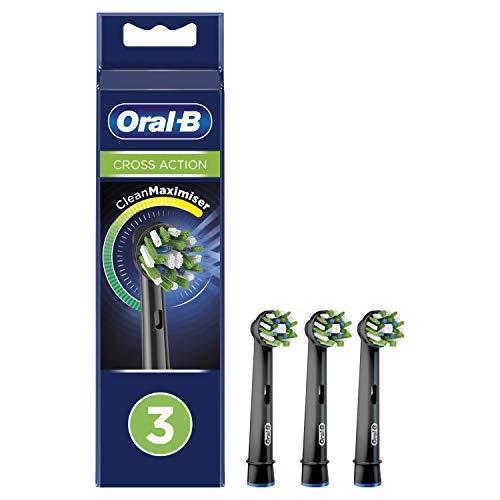 Oral-B CrossAction Testine di Ricambio per Spazzolino Elettrico Edizione Nera con Tecnologia CleanMaximiser, Confezione da 3 Pezzi