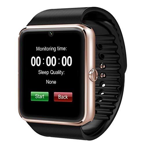 Reloj Inteligente GT08 con función de cámara Pulsera Hombre Mujer Reloj de Pulsera Negro-Dorado