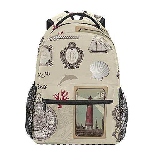 Mochila escolar retro náutico ancla faro velero estudiante viaje senderismo camping mochila casual libro bolsas bolsa de hombro