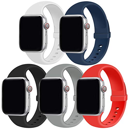 GZ GZHISY Pack 5 Sport Bands Compatible with Watch Band 42mm 44mm, Soft Silicone Band Sport Strap Compatible for iWatch Series 6/SE/5/4/3/2/1 (White/Midnight Blue/Black/Concrete/Red, S/M)