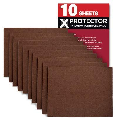 Felt Furniture Pads X-PROTECTOR 10 Pack Premium 8x6 Heavy Duty 1/5 Felt Sheets! Cut Furniture Felt Pads for Furniture Feet You Need  Best Furniture Pads for Hardwood Floors!