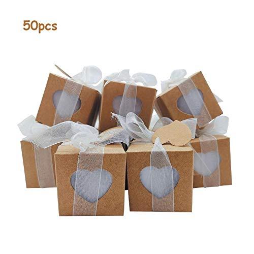50xScatoline portaconfetti, sacchetti ed etichette KIT completo | Carta Kraft |Nastro bianco |sacchetti di Organza Bianchi |Bomboniere|Matrimonio| Comunione | Feste| Battesimo | Laurea | 5*5*5 cm