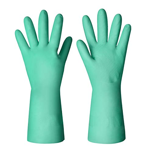 ThxToms Nitrile Chemical Resistant Gloves, Resist Household Acid, Alkali, Solvent and Oil, Latex Rubber Free, 1 Pair Medium