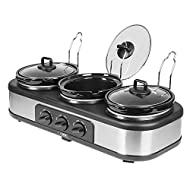 Three slow cooker pots each with a large 1.5 Litre capacity, ideal for family cooking and entertaining friends Slow cook three separate pots of delicious ingredients with individual temperature controls and three settings Each pot includes a tempered...
