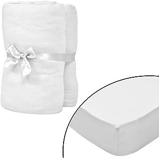 FAMIROSA Dra-på-lakan för barnsäng 4 st 70x140 cm bomullsjersey vit