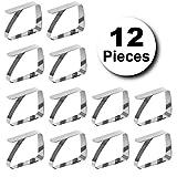 Emwel Tischdeckenklammer - 12 STÜCK Tischtuchklammer Tischtuch Klammer Edelstahl Tischklammern Tischdeckenklemmen Tischdeckenhalter Tischdeckenhalter (7 cm x 8 cm) für Dicke 3-5 cm - 8