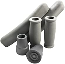 Replacement Crutch Parts Set, Comfortable Gray Rubber Pads Underarm Cushions, Hand Grips, and Feet Caps, Fits Standard Aluminum Crutches (6-Piece Set)